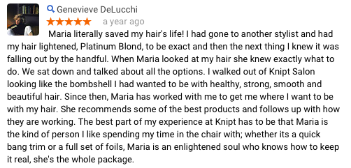Genevieve D Review of Maria Knipt Salon