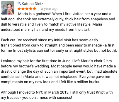 Katrina D Review of Maria Knipt Salon